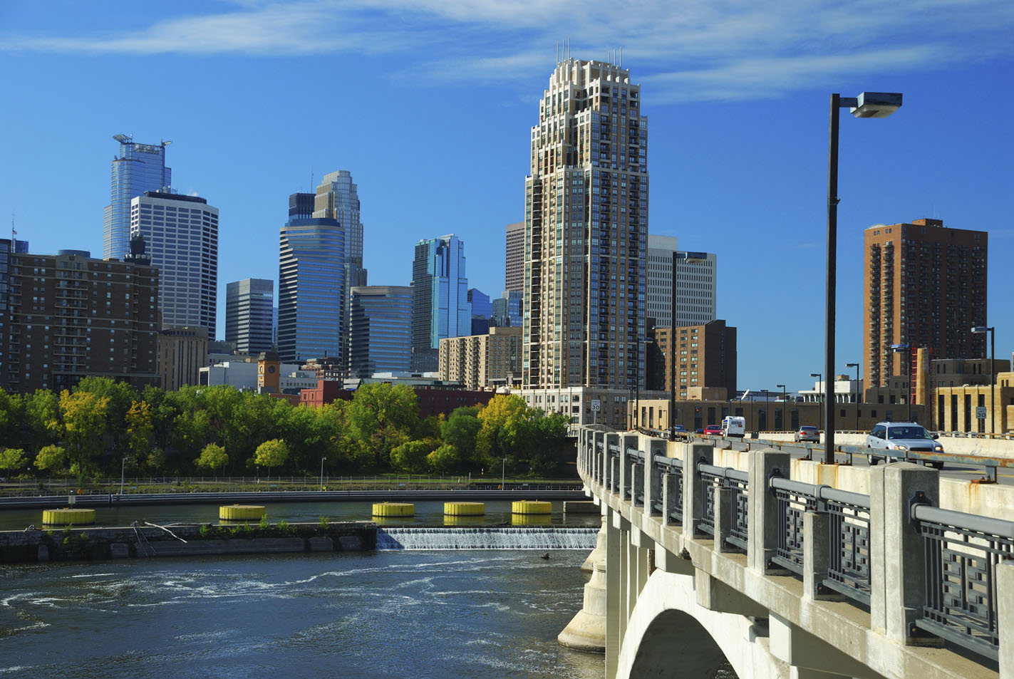 Minneapolis Skyline, Bridge, And Mississippi River